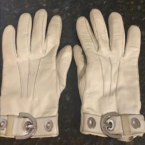 Coach beige leather gloves